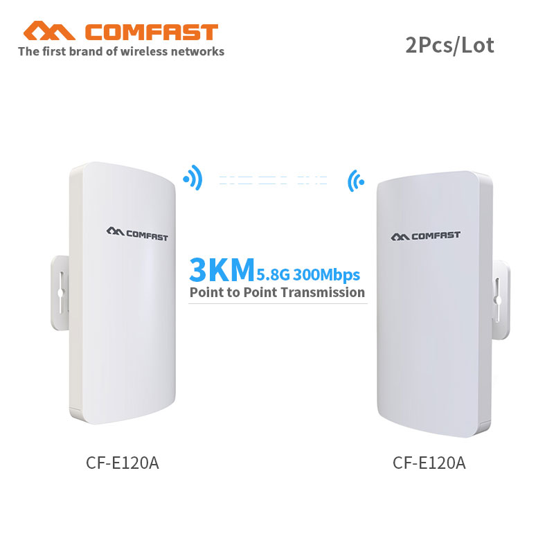 2pcs COMFAST CF-E120A 300Mbps 5.8Ghz mini CPE Bridge Outdoor wifi repeater router point to point transmission 3km for IP camera