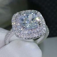 2016 модное кольцо Новый стиль Подушка 4ct 5A циркон камень 925 серебро обручальное кольцо для женщин Sz 5-10
