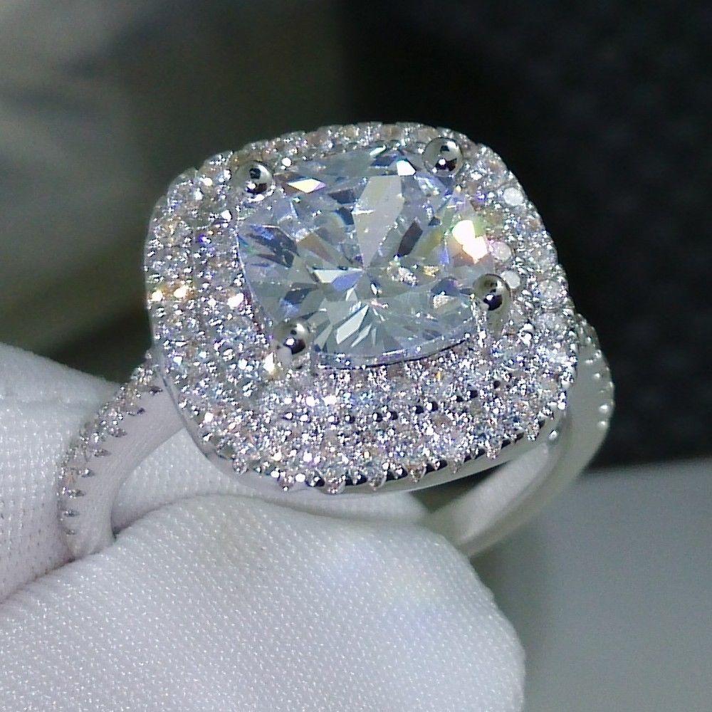2016 anel de moda novo estilo de Almofada corte 4ct 5A pedra Zircão 925 prata esterlina Anel de Noivado Wedding band para mulheres Sz 5-10
