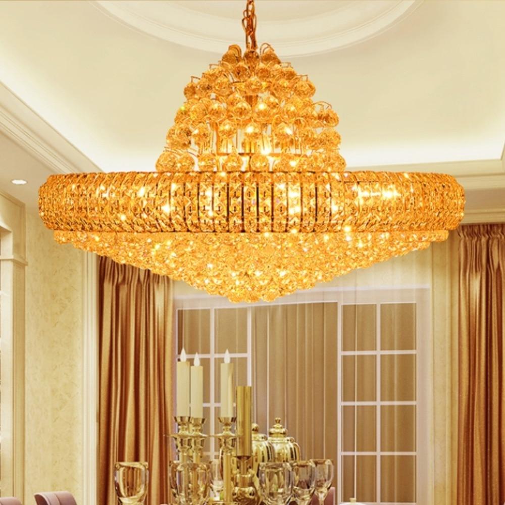 led golden crystal chandeliers big round golden chandeliers lighting fixture crystal drop lights lustres d75cm d100cm ac90v 260v