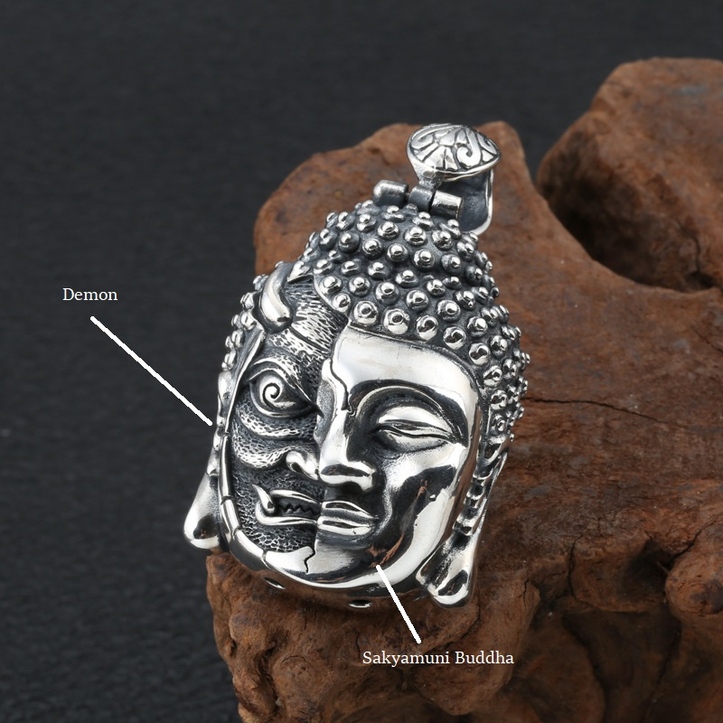 100% 925 Silver Buddha Pendant Necklace Sterling  Demon Pendant Good Luck Tibetan Pendant Necklace