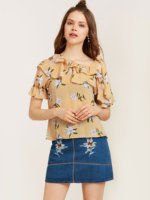Print Ruffles Shirts Women Vintage Floral 018 Spring Summer Sexy Shot Sleeve O Neck Retro Blouse