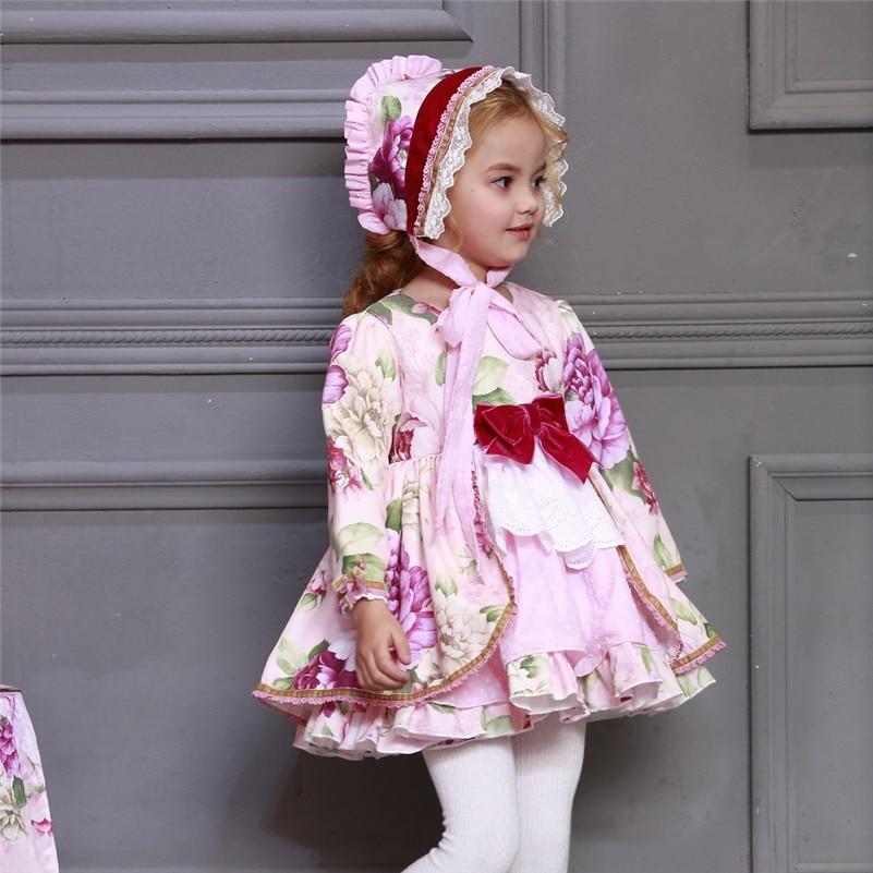 En gros enfants Boutique robe florale pour filles enfants espagnol Palace à manches longues robe ensembles bébé anniversaire mignon robe de bain G046