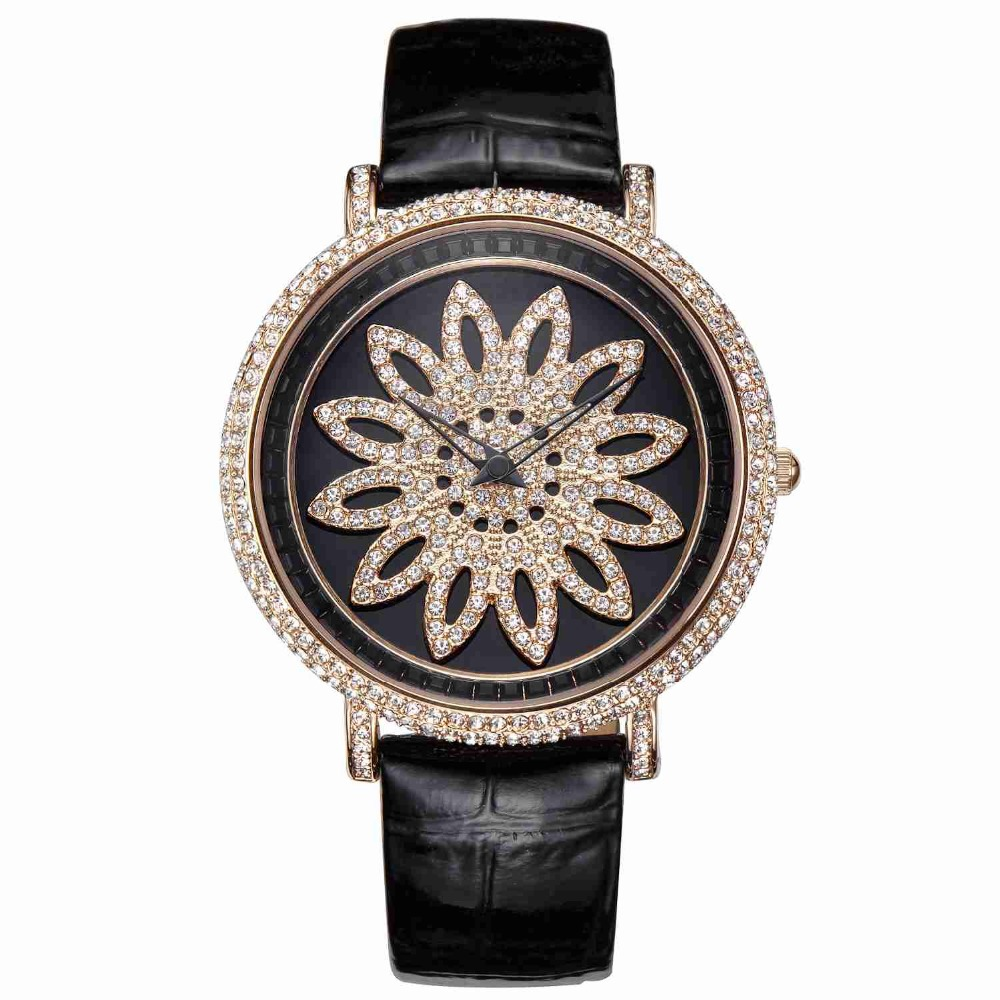 MATISSE Fashion Austria Crystal Snowflake Rotatable Dial Leather Strap Buiness Quartz Watch Wristwatch - Rosegold matisse fashion austria crystal rotatable dial lady women buiness quartz watch wristwatch