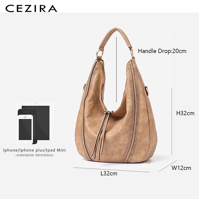 CEZIRA New Fashion Women Handbags Soft Ladies PU Leather Shoulder Bags Hollow Out Large Female Hobos Zipper Tassel Tote Bags