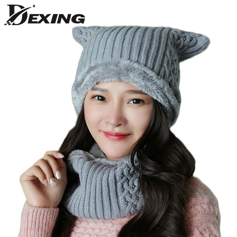 cute cat scarf set balaclava female pearl Skullies Beanies winter hat for women ski  Touca Knitted  women casual velvet caps skullies