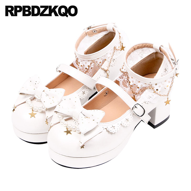 2caf9e74d Detail Feedback Questions about Metal Sweet White Ankle Strap Removable Heels  Shoes Lace Bow Pumps Round Toe Platform Women Lolita Mary Jane Pearl Thick  ...