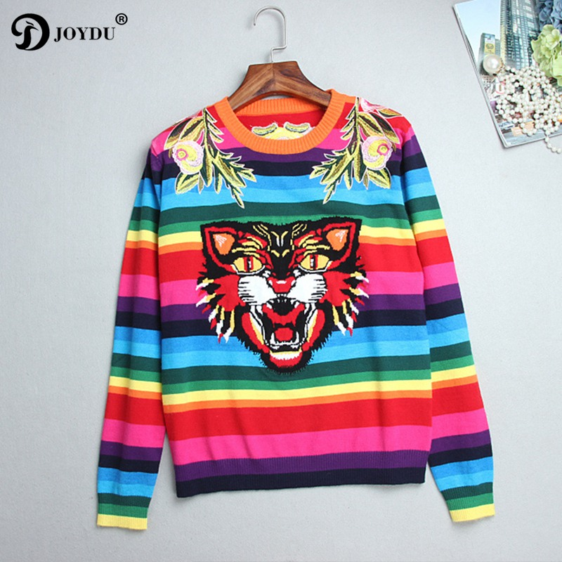 JOYDU 2018 Runway Designer Winter Sweater Women Flower Embroidery Tiger Rainbow Stripe Knitted Casual Pullover Jumper pull femme
