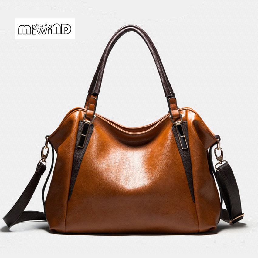 ФОТО MIWIND 2017 Vintage Women Leather Handbags Solid Women Bag PU Leather Bag Women Free Shipping Shoulder Bags Women Messenger Bags