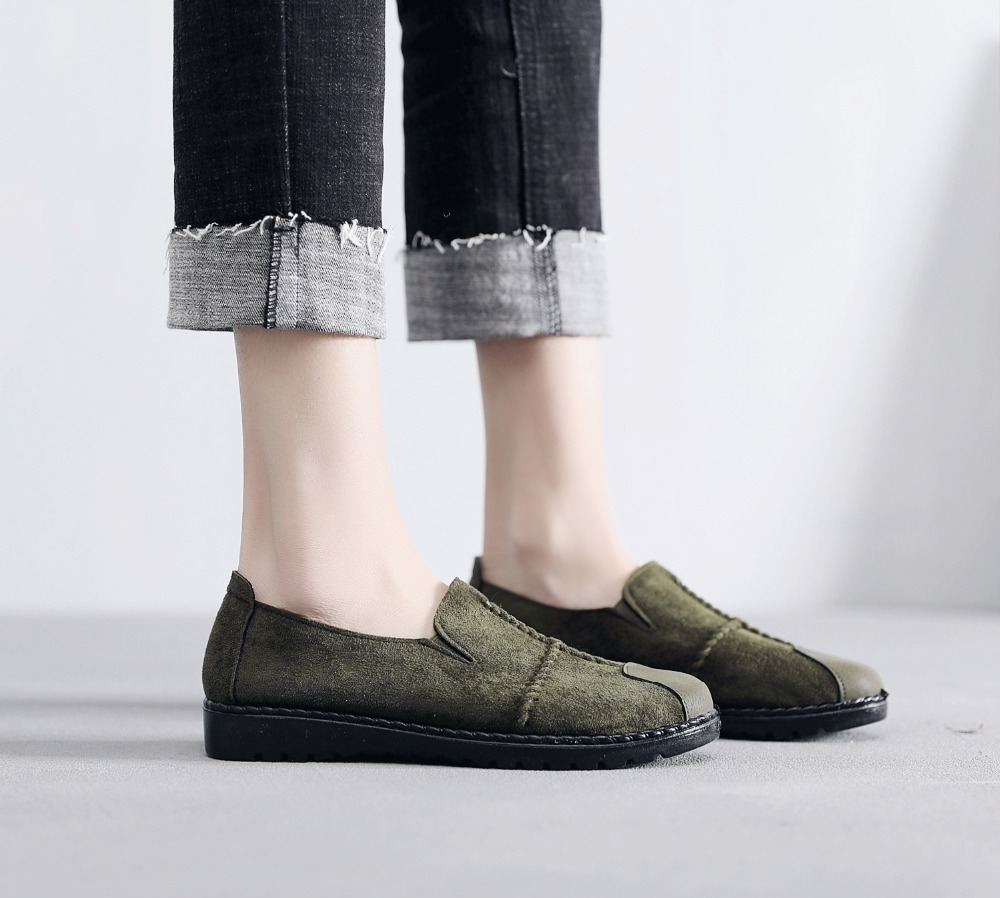 Plus Size Summer Women Flats Fashion Splice Flock Loafers Women Round Toe Slip On Leather Casual Shoes Moccasins New 2019 VT209 (19)