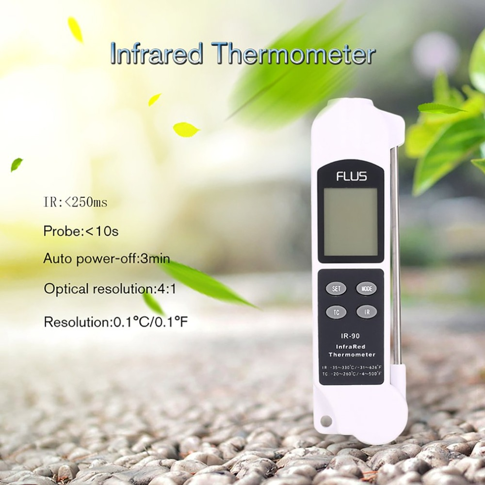 FLUS IR-90 Digital LCD Handheld 2 in 1 IR Contact Infrared Thermometer Red Laser Non Contact Temperature Meter Gun Pyrometer