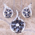 Fabulous Black Created Sapphire White CZ 925 Sterling Silver  Earrings Pendant Necklace  Jewelry Sets S0791