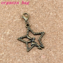 100Pcs /lots Antique bronze Angel Star Charm Bead with Lobster clasp Fit Bracelet Jewelry DIY 25.2x42mm A-302b