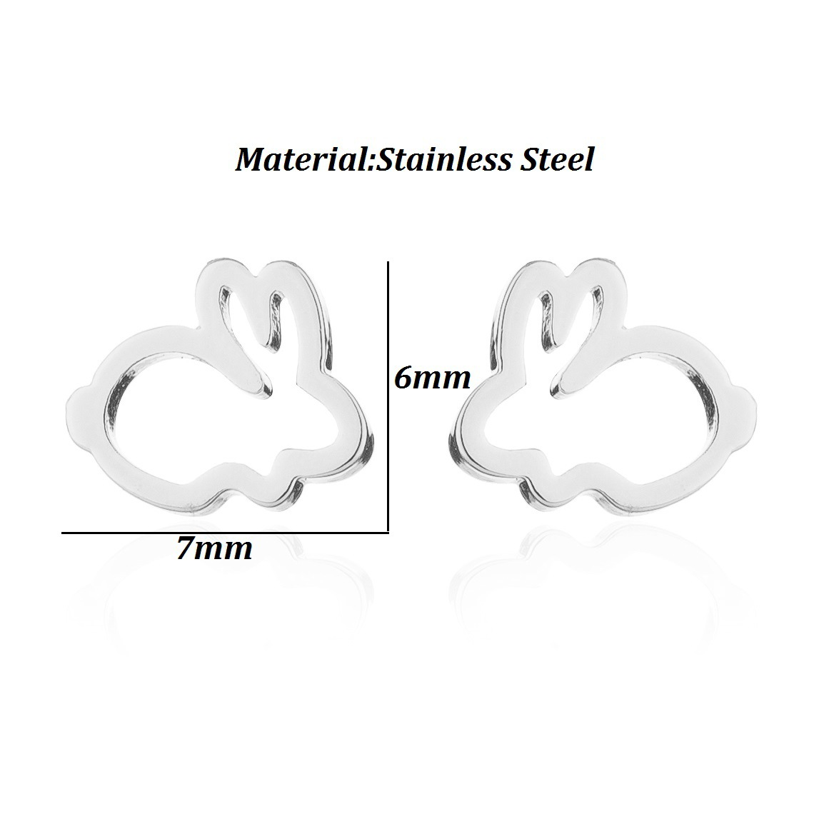 Fashion Sweet Lovely Hollow Small Animals Rabbit Black Stud Earrings for Women Korean Style Simple Rose Gold Earings for Female in Stud Earrings from Jewelry Accessories