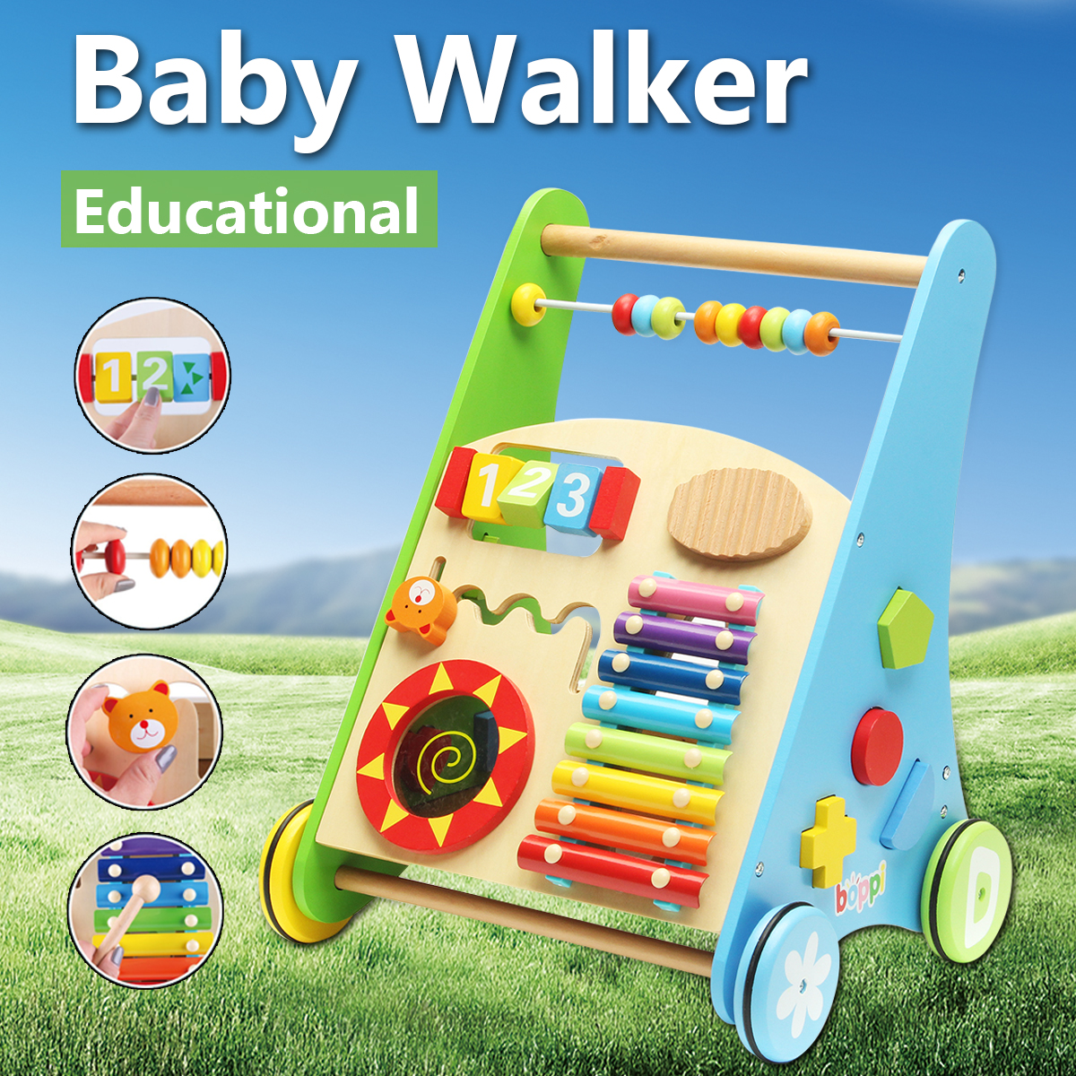 Wooden Toy Cabinet Baby Walker Cart Baby Early Education Multi-purpose Vehicle Toy Early Puzzle Toy For Kids Birthday Gift cute baby swing car walker without foot pedal scooters toddler stroller kids toy birthday gift