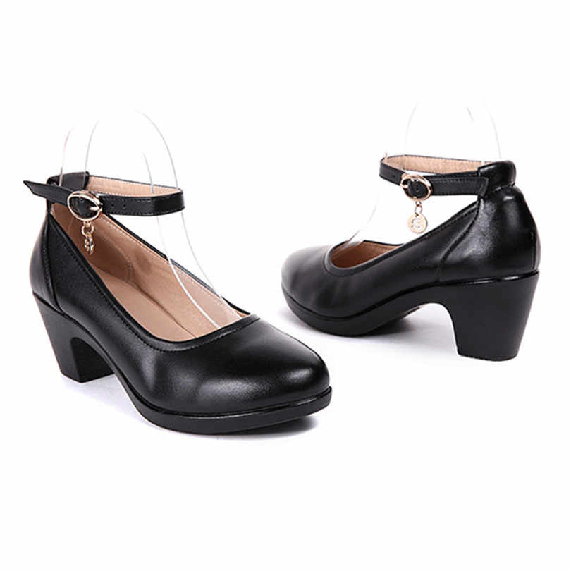 LIN KING Fashion Square Heel Women Pumps Black Genuine Leather Round Toe Platform Shoes Female High Heel Office Shoes Plus Size