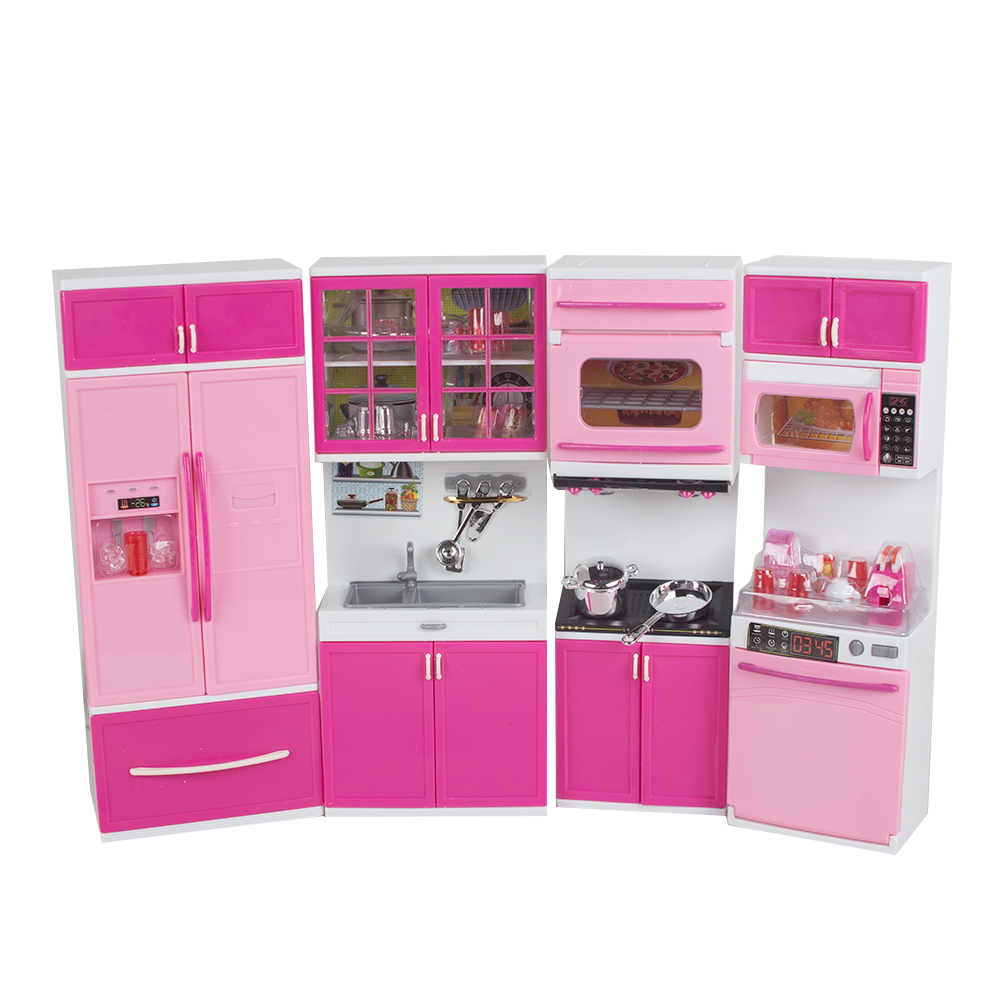 1/18 Kid Kitchen Pretend Play Cook Cooking Set Pink Cabinet Stove Fun Learning&Educational Toy Xmas Gift for Kid