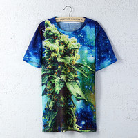 New Fashion Mens Short Sleeve Cotton T Shirts 3D Coral Weed Galaxy Space Printed Creative T