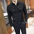 2017 Camisa Masculina Social Club Outfits Slim Fit Black Mens Dress Shirts Baroque Korean Clothes Black Shirts Mens Casual Sexy