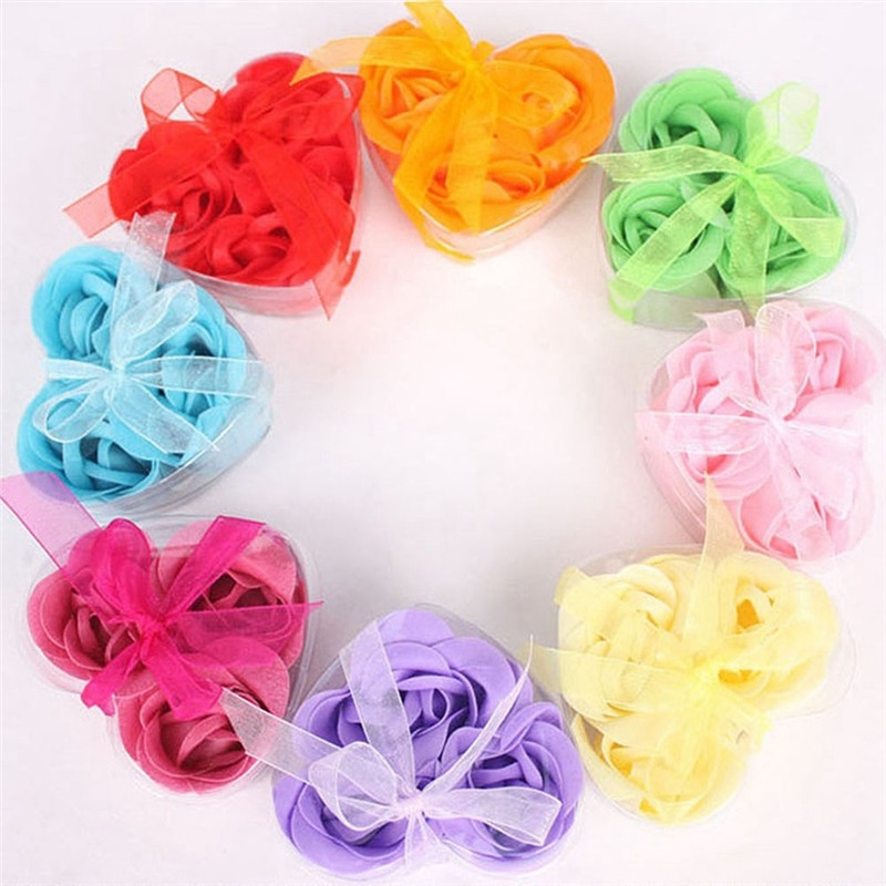 3pcs roses flower petal soap with heart box body hand cleaning tools bathroom accessory 6 colors
