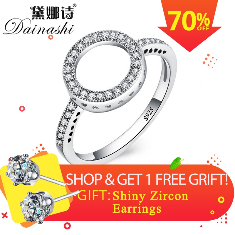 Dainashi 2018 Hot Sale Rings 100% Genuine 925 Sterling Silver Women Ring Forever Clear for Round Finger