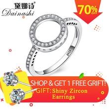 Dainashi 2018 Hot Sale Rings 100% Genuine 925 Sterling Silver Women Ring Forever Clear Rings for Women Round Finger Rings цена 2017