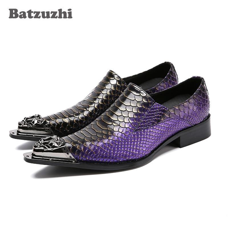 Schuh Batzuzhi Leder Italien Purpurrot Lila Schuhe Stil Designer Spitze Herren Echtem bühne Eisen party Kleid Mode Geschäfts Toe prqpwF7a