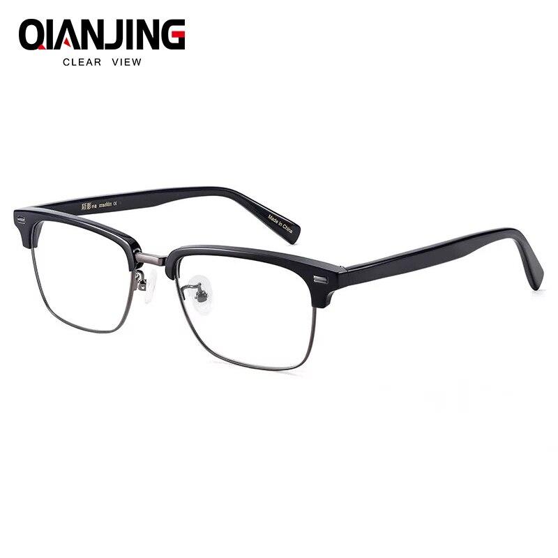 QIANJING classique Rivet demi cadres lunettes Vintage rétro lunettes cadre hommes clair lunettes cadre lunettes oculos de grau