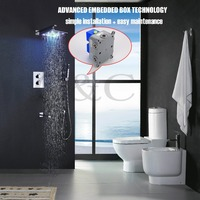 With Embedded Box 10 Inch LED Shower Head Solid Brass Chrome Thermostatic LED Rainfall Shower Faucet