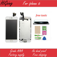 Retail Full LCD Screen Display For iPhone 6 4.7inch Touch Screen Digitizer+Home button+camera +ear speaker+LCD Metal Back Plate