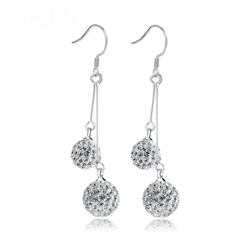 3b328716e New Fashion Luxury Double Bling Crystal Ball Silver Earrings For Women Long  Tassel Drop Dangle Earrings Ear Hook Bridal Jewelry-in Drop Earrings from  ...