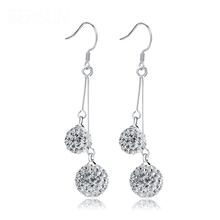 New Fashion Luxury Double Bling Crystal Ball Silver Earrings For Women Long Tassel Drop Dangle Earrings Ear Hook Bridal Jewelry