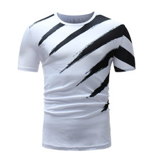 f6a3b4f7dde Male 2018 Brand Short Sleeve Black Diagonal Stripe Hip-Hop T Shirt O-Neck  Slim Men T-Shirt Tops Fashion Mens Tee Shirt T Shirts