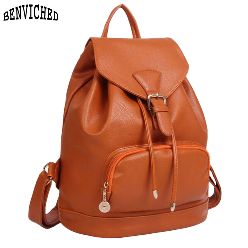 Korean Fashion Woman Bags New 2017 PU Leather Women Backpack Bag Candy Color Preppy Style School