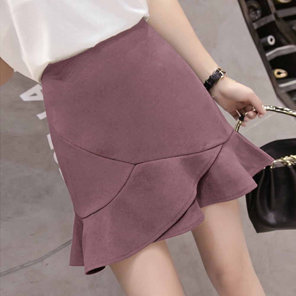Chic Fishtail A Line Ruffle Skirt Slim Wrap Mini Suede Skirt Summer Kilt Saia Feminina Harajuku Kawaii Clothes 60Q512
