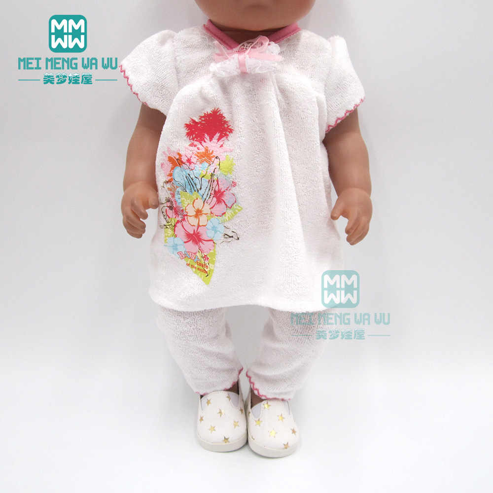 Clothes for doll fit 43cm baby new born doll and American doll Purple pajamas, bathing, casual skirt
