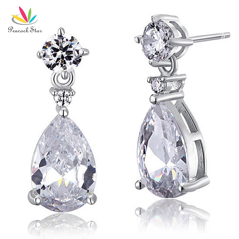 Peacock Star 3 Carat Pear Wedding Earrings Solid 925 Sterling Silver Bridal Bridesmaid Dangle Jewelry CFE8031