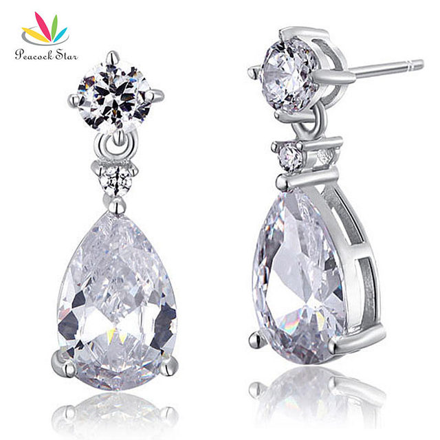 Pea Star 3 Carat Pear Wedding Earrings Solid 925 Sterling Silver Bridal Bridesmaid Dangle Jewelry Cfe8031