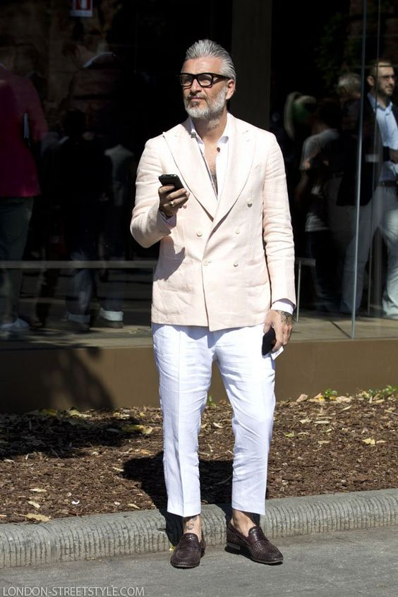 Slim Fit Double Breasted Suit Men Off White Wedding Suits For Men Street Casual 2 Piece Suit For Summer Beach Traje Hombre Suits