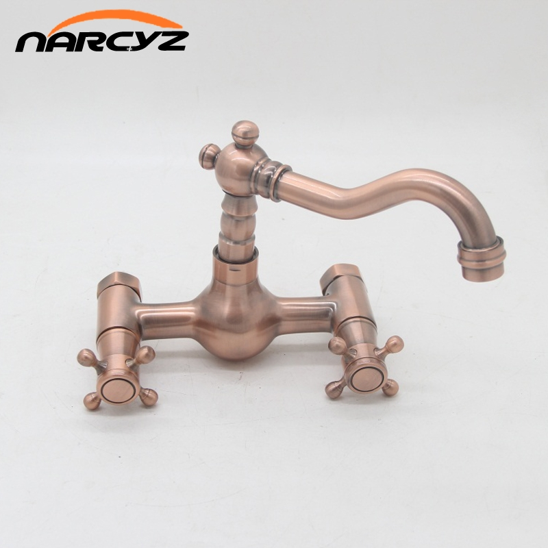 New Style Antique Red Copper Wall Mounted Kitchen Sink Faucet Hot and Cold Dual Cross Handles
