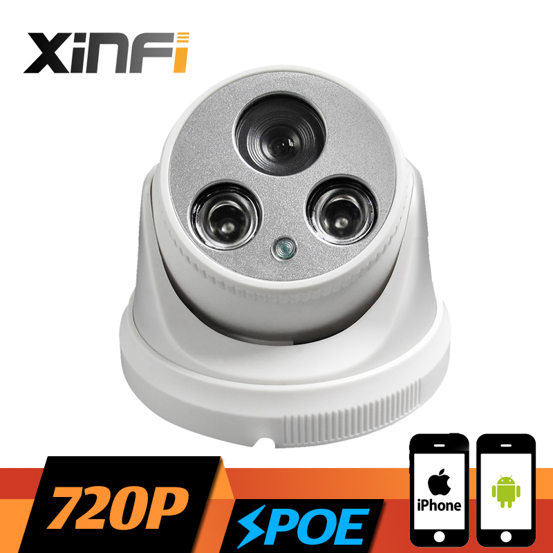 XINFI HD 720P POE Camera 1.0 MP CCTV IP camera 1280*720 resolution night vision Indoor network ONVIF 2.0 PC&Phone remote view j47b as cameras do ip de hd apoiam hd 720p 1280 720 deteccao de movimento mascara da privacidade camera bala
