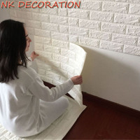 NK White 3D Modern Design Brick Wallpaper Roll XPE Foam Wall Covering Wall Paper Living Room Dinning Room Store Background