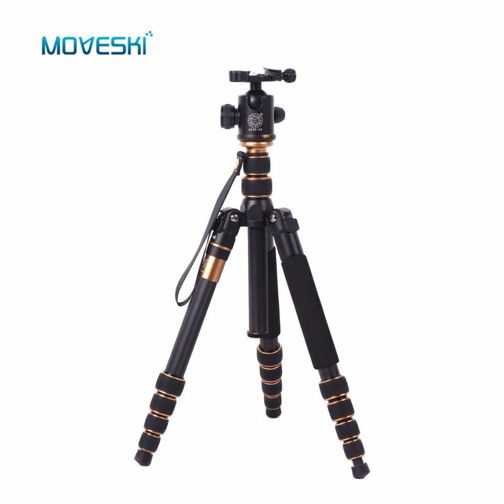 Ballhead가 장착 된 Moveski Q666C 전문 소형 탄소 삼각대 모노 포드 DSLR 카메라 용 휴대용 여행용 삼각대