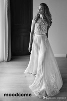 2018 Wedding Dresses Two Piece Sweetheart Sleeveless Low Back Pearls Beading Sequins Lace Chiffon Boho Bohemian Wedding Gown
