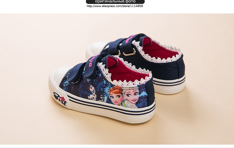 Princess Girls Shoes For Kids Fashion Elsa Anna Kids Shoes 2017 Ice Snow Queen Casual Denim Canvas Children Shoe Girl Sneakers 520 (5)