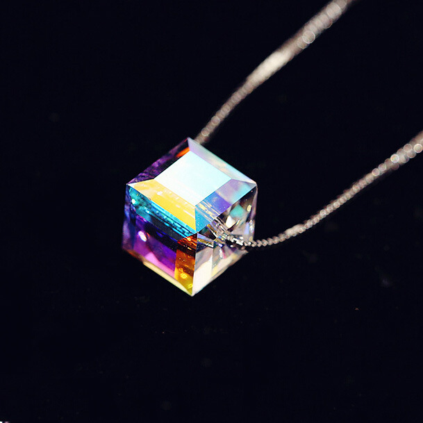 925 Sterling Silver Crystal Cube Necklace Four Leaf Clover flower Crystal From Swarovski for women collares 2017 colar Jewelry