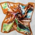Кофе женское шарф 100% шёлк компактный квадрат шарф печать 52 * 52 см лето марка шелк шарф