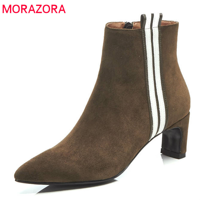 MORAZORA 2018 new arrival suede leather women boots simple zipper fashion ankle boots autumn high heels female shoes black gaozze suede leather women ankle boots female pointed black side zipper ankle boots heels shoes women 2017 autumn new