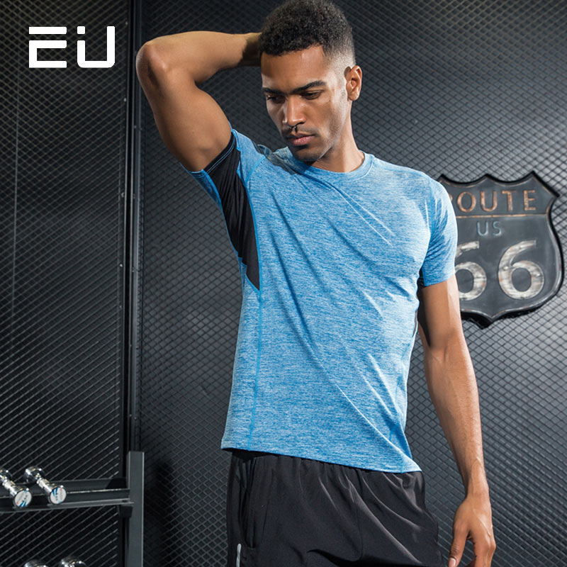 EU Mens Running Shirts Quick Dry Sport Tshirt for Men Sport Running T-Shirt with Reflective Strip Breathable Training Shirt Tops