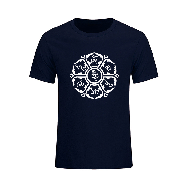 New Summer JN BUDDHISM OM MANI PADME HUM T-shirts Ethnic Style Fashion Short Sleeve O-Neck Cotton Tops Tee Big Size Men Clothing